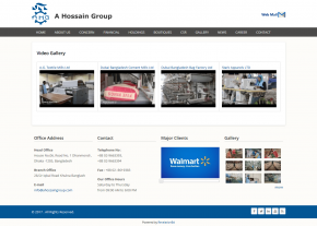 Dynamic Video gallery - Professional Web Design and Development Project by Revelation BD for A Hossain Group