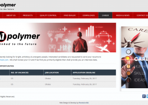 Dynamic Career Gallery - Professional Web Design and Development Project by Revelation BD for A1 Polymer - A Anwar Group Company